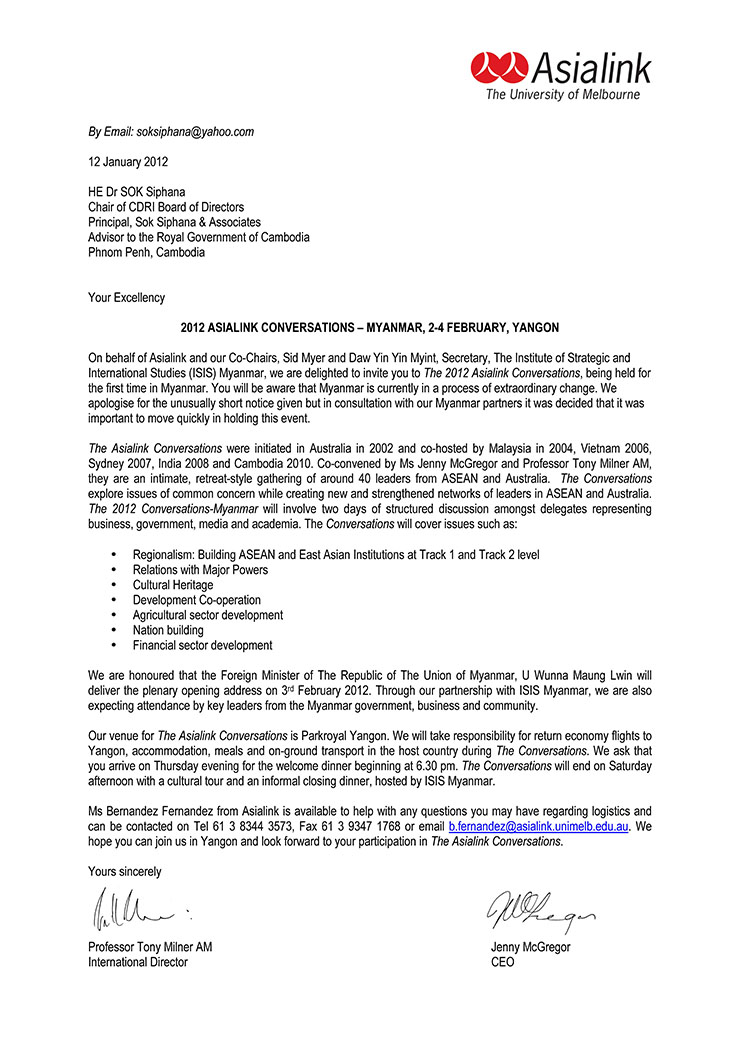 Awards appointments testimonials and appearances dr sok siphana asialinks invitation 2012 stopboris Image collections